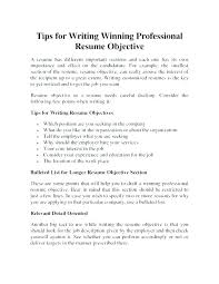 Objective For It Professional Resume General Examples From Objectives Letter Collection