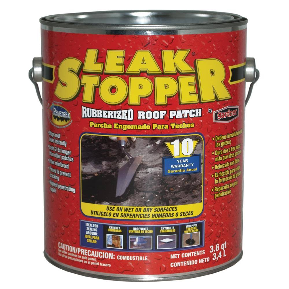 Leak Stopper Rubberized Roof Patch - 3.6 qt can