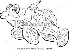 Tuna Fish Coloring Page Vector Clipart Of Mandarin Black And White
