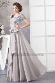 silver a line square neckline formal gown prom dress