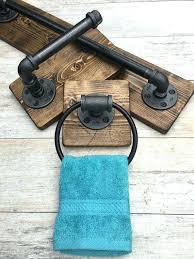 Rustic Bath Towels Ring Hanger Rack Pipe Bathroom Industrial Modern Set Of 3