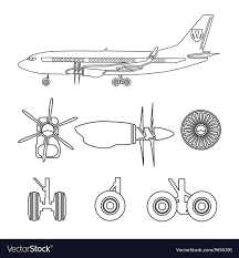 100 Parts Of A Plane Wing Outline Silhouettes Aircraft Parts