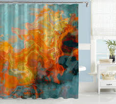 Abstract Art Red Orange & Yellow Shower Curtains – Abstract Art Home