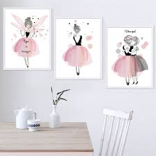 Kawaii Girl Nordic Style Cartoon Canvas Painting Wall Art Prints