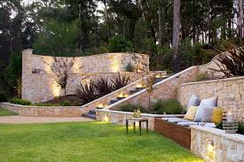 backyard retaining wall landscape contemporary with wall