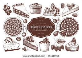 Vector collection of ink hand drawn berry cake pie and tart illustration Vintage set