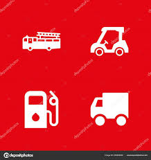 100 Fire Truck Golf Cart Car Icon Set Delivery Vector Stock