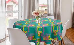 abakuhaus tischdecke kreis tischdecke abdeckung für esszimmer küche dekoration retro bunte skurrile formen kaufen otto