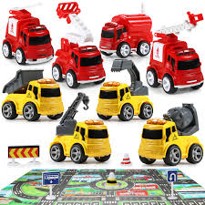 100 Fire Trucks Toys Mini Truck With Construction Vehicles Play Set GEYIIE Rescue Emergency Car Toddler Trucks Engineering Push And Go Cars Extra