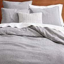 Belgian Flax Linen Melange Duvet Cover Pillowcases Slate West