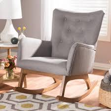 Baxton Studio Waldmann Mid-Century Modern Grey Fabric Upholstered Rocking  Chair, Grey, 1, Mid-Century, Medium Wood, Fabric