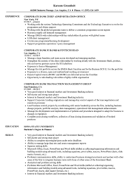 Download Corporate Bank Resume Sample As Image File