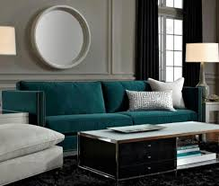 Grey And Turquoise Living Room Curtains deep teal sofa is a gem against grey walls a dark rug and