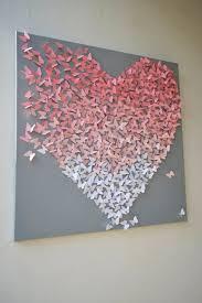 Light Pink Ombre Butterfly Heart On Grey 3D Wall Art Nursery