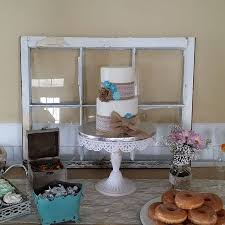 Burlap Rustic Lace Baby Shower Cake