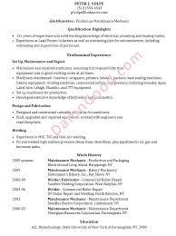 Resume Sample Maintenance Mechanic