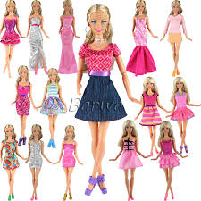 BARWA 5pcs Fashion Mini Dress For Barbie Doll Handmade Short Party