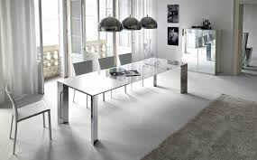 Stunning Modern Minimalist Furniture Dining Room With Rectangle Chrome Table Also Inverted Bowl Hanging Lamp Plus White Window Curtains