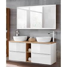 badezimmer waschtisch led spiegel set toskana 56 in hochglanz weiß