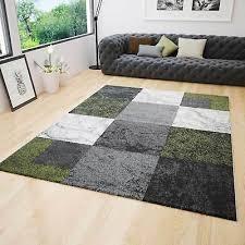 wohnzimmer teppich kariert grün grau creme meliert