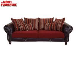 big sofa braun rot 253 cm inkl kissen carlos