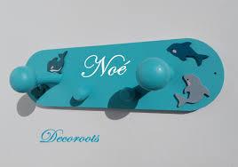 chambre dauphin porte manteau enfant thème mer dauphin personnalisable enfant