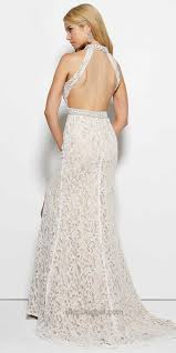 embellished lace halter evening dress by mac duggal