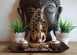 lb h f dekotablett buddha statue gold teelichthalter mit deko steinen kerzentablett modern edel