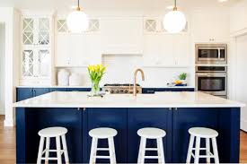 Kitchen Theme Ideas Blue by Elegant Blue Kitchen Cabinets Design And White Chairs And