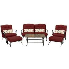 Patio Furniture Conversation Sets Home Depot by Hanover Oceana 6 Piece Patio Lounge Seating Set With Nepal Blue