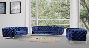 Best Fabric For Sofa Set by Casa Sheila Modern Dark Blue Fabric Sofa Set