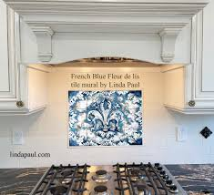 Accent Tiles For Kitchen Backsplash Blue Ink Fleur De Lis Ceramic Tile Mural By Artist Paul