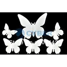 Hot 50Pcs Lot DIY 3D Wall Stickers Butterfly Home Decor Room Decorations Sticker White Size 55x55cm 4699