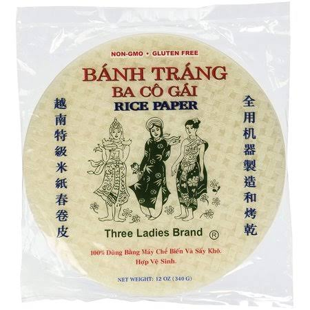 Three Ladies Spring Roll Rice Paper Wrappers, Round, 22cm, 50 Sheets, 12 oz
