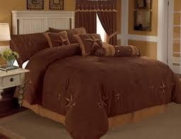 Rustic Brown Gold Texas Star Western Luxury Comforter Suede