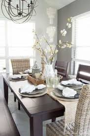 summer dining room update natural wood table white hutch and
