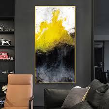 moderne abstrakte gold gelb und schwarz bunte leinwand kunst
