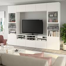 bestå tv komb mit vitrinentüren lappviken sindvik klarglas weiß 300x40x230 cm