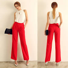 2015 Red Vintage Fashion High Waist Straight Trousers Suit Pants Casual Wide Leg