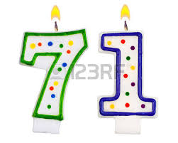 Birthday candles number seventy one isolated on white background photo