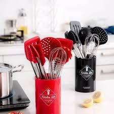 großhandel kochen werkzeug set silikon küche qualitäts temperaturbeständigkeit topfset mit aufbewahrungsbehälter turner tongs spatel yiyu hg