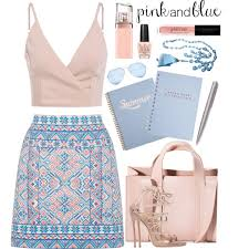 How To Wear Pink And Blue Summer Day Outfit Idea 2017