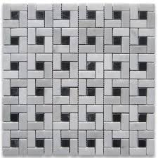 carrara white target pinwheel mosaic tile w black dots polished