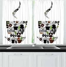 Ambesonne Coffee Decor Collection Cup And Steam Pattern Made Of Cups Beans Leaves Lettering Modern Art Print Window Treatments For Kitchen Curtains