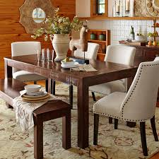 parsons 76 tobacco brown dining table wood table brown and bench