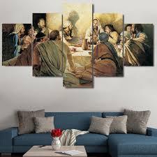 abstrakte moderne dekoration leinwand gedruckt malerei 5 panel letzte abendmahl gerahmte wand kunst für wohnzimmer modulare bild