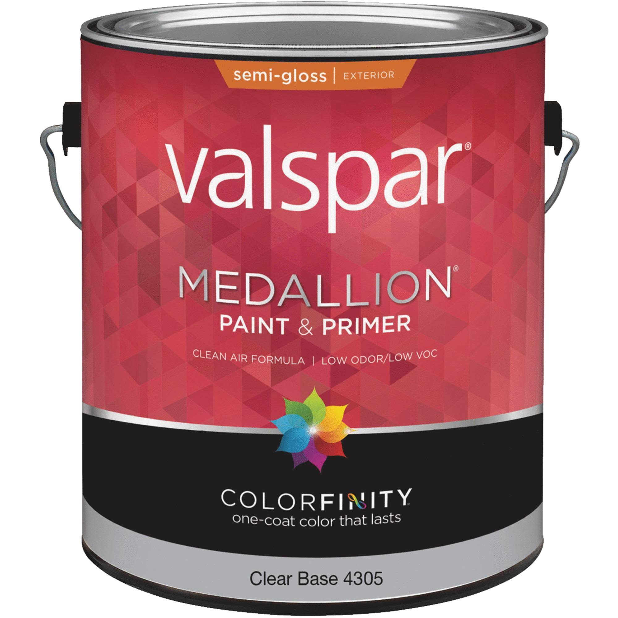 Valspar 4305 Exterior House Paint, Clear, Semi-Gloss, 1 Gal