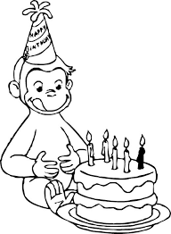 Curious George Coloring Pages Birthday