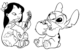 Lilo And Stitch Playing Guitar Coloring Picture For Kids