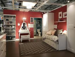modern bedroom and bathroom design at store ikea editorial